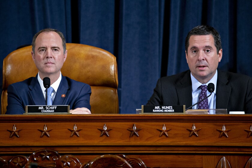House Intelligence Committee leaders Adam B. Schiff (D-Burbank) and Devin Nunes (R-Tulare)
