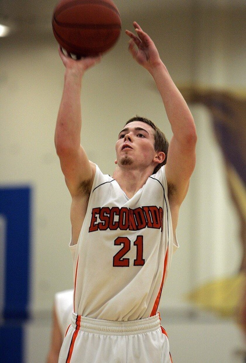 """Escondido High's Joe Hudson played against Foothills Christian on Dec. 15. A running joke among Hudson's teammates is that if they can't find him, he's practicing at the YMCA. """"It seems that he lives at the YMCA,"""" his coach said."""