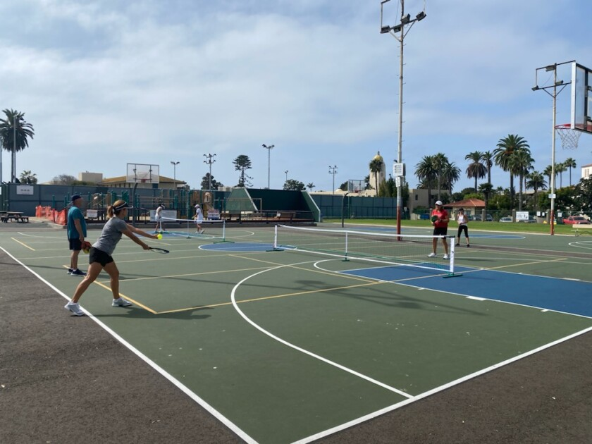 The La Jolla Recreation Center's pickleball courts are on the recently repaved basketball courts at 615 Prospect St.