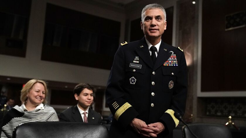 U.S. Army Lt. Gen. Paul Nakasone is shown before a confirmation hearing with the Senate Armed Services Committee on March 1.