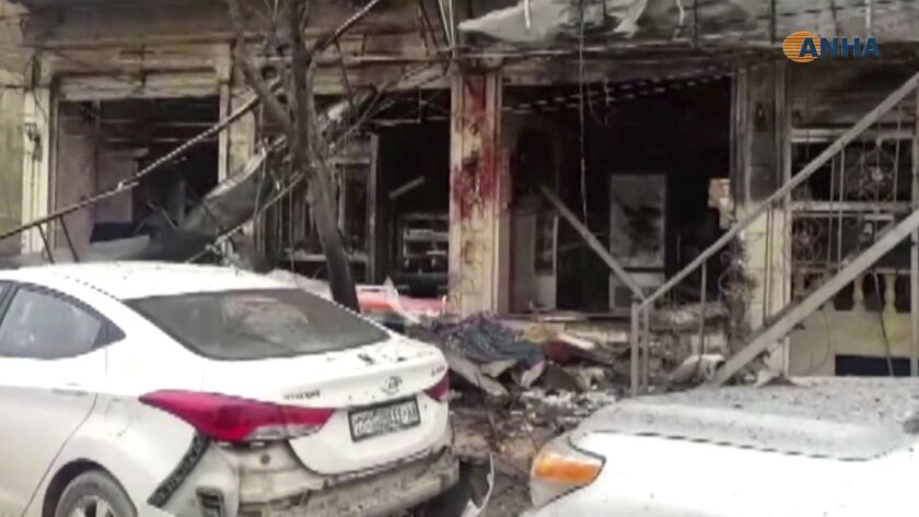 The restaurant where the suicide bomber attacked coalition forces and civilians in Manbij, Syria, on Jan. 16, 2019.