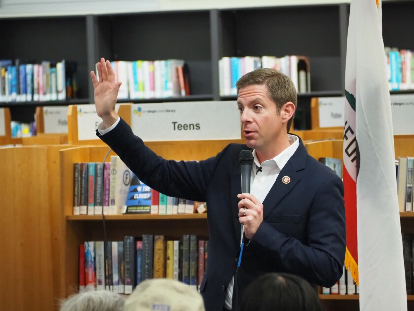 U.S. Rep. Mike Levin addressed constituents at the Solana Beach library during the 11th town hall he's hosted in his 11 months in office.