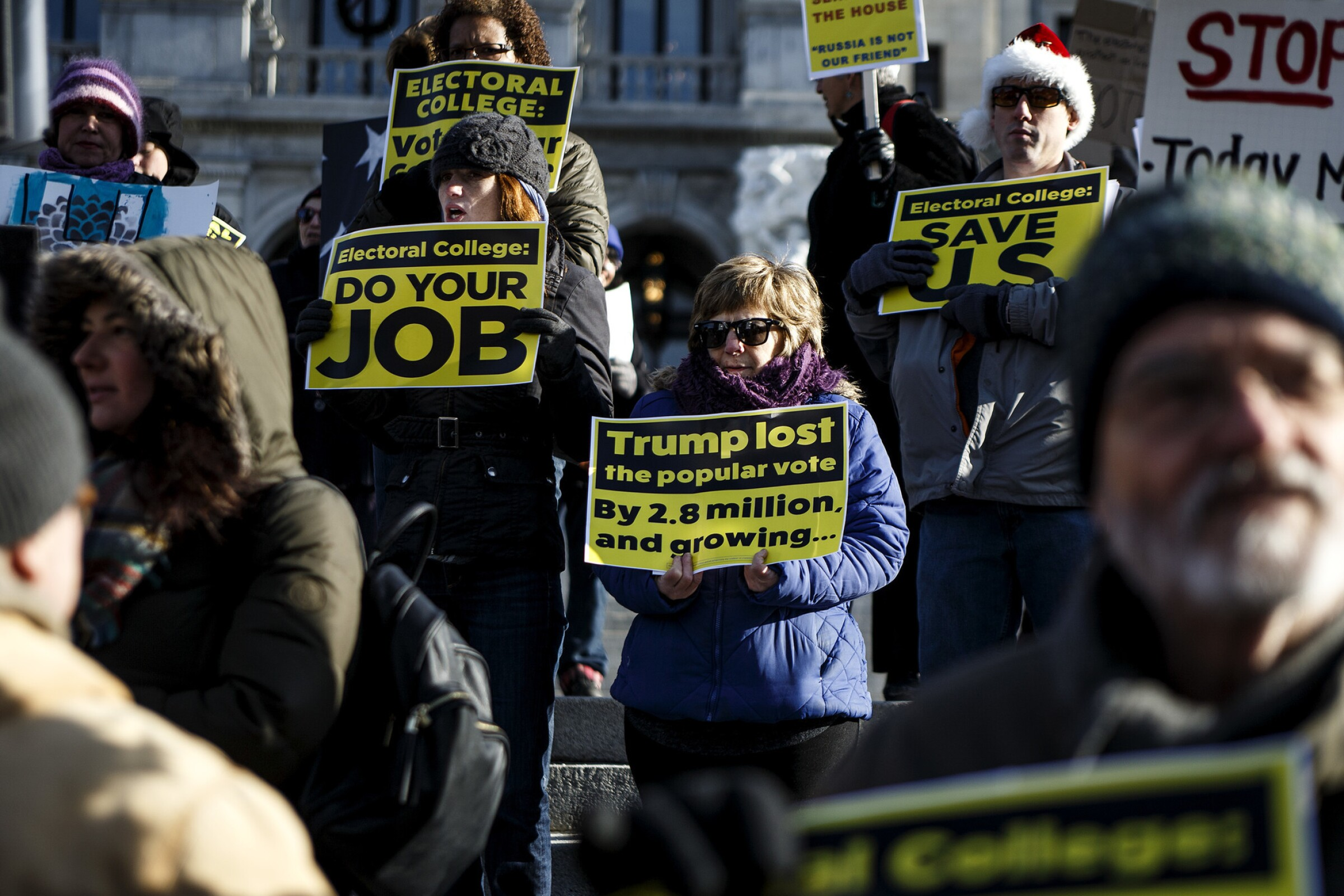 Protesters in Pennsylvania demonstrate against an electoral college victory for Donald Trump.