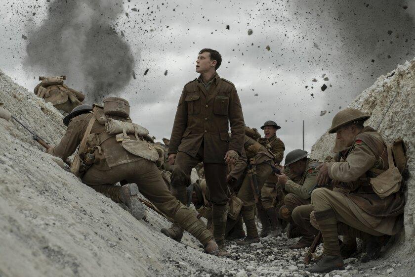 "(center) George MacKay in ""1917."""