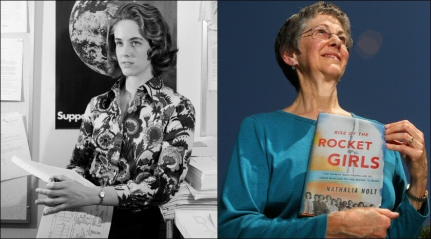 """Sylvia Miller, pictured on the left in 1973, was one of the last human computers hired by NASA's Jet Propulsion Laboratory in 1968. She is now one of the female subjects in a newly released book by Nathalia Holt titled """"Rise of the Rocket Girls: The Women Who Propelled Us, from Missiles to the Moon to Mars."""" Miller went on to have a 40-year career at JPL and retired in 2008."""