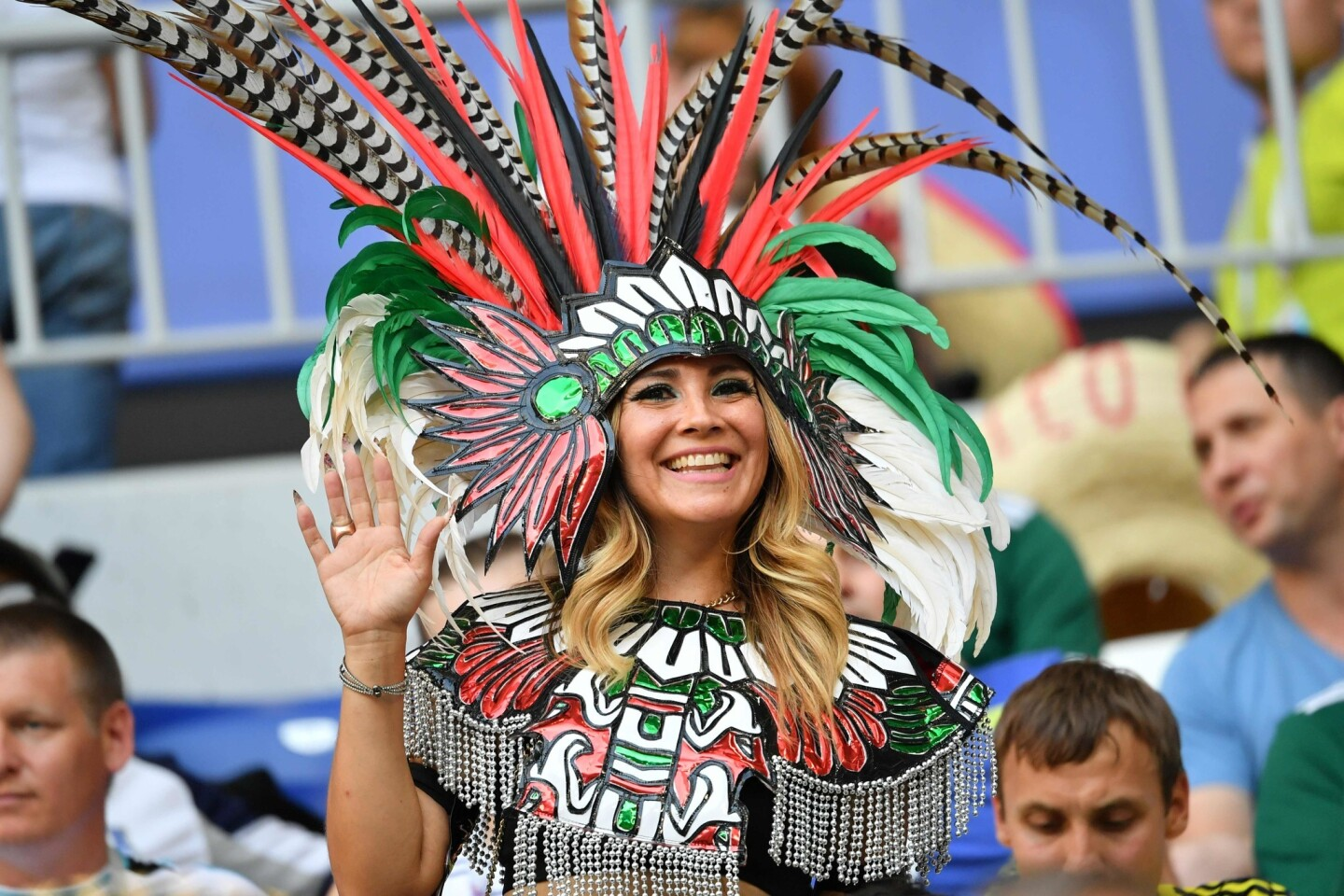 A fan attends the Russia 2018 World Cup round of 16 football match between Brazil and Mexico at the Samara Arena in Samara on July 2, 2018.