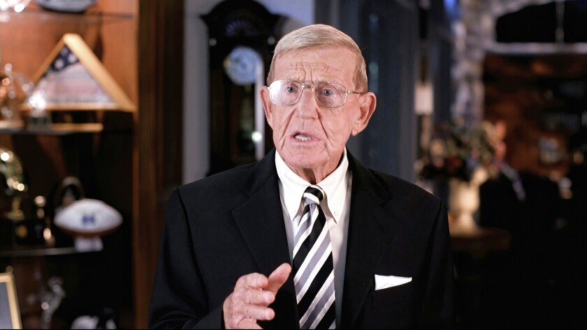 In this image from video, Lou Holtz speaks from Orlando, Fla., during the third night of the RNC