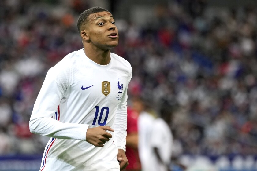 France's Kylian Mbappe reacts during the international friendly soccer match between France and Bulgaria at the Stade De France in Saint Denis, North of Paris, France, Tuesday, June 8, 2021. (AP Photo/Francois Mori)