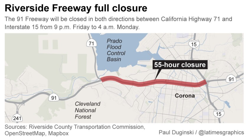 91 Freeway closure