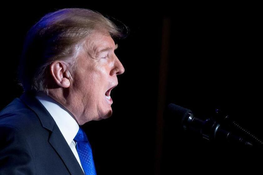 El presidente de EE.UU., Donald Trump, pronuncia un discurso en la Conferencia Conjunta de la Asociación de Sheriffs de los Condados Mayores y Jefes de Grandes Ciudades celebrada este miércoles en Washington, DC (EE. UU.). EFE