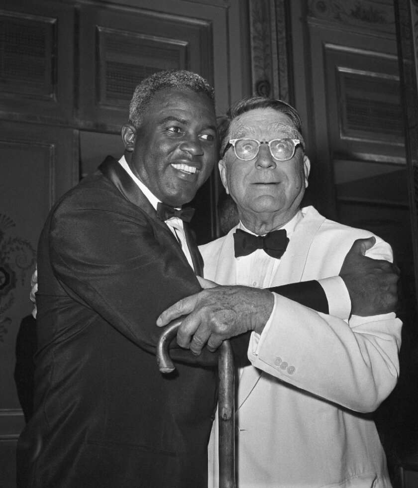 Branch Rickey with Jackie Robinson in 1962.