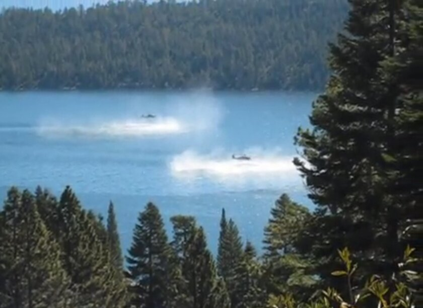 YouTube video of Navy helicopters over Lake Tahoe.