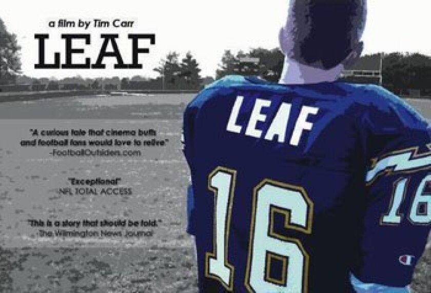 "A promotional image for ""Leaf,"" a movie based on former Chargers quarterback Ryan Leaf."