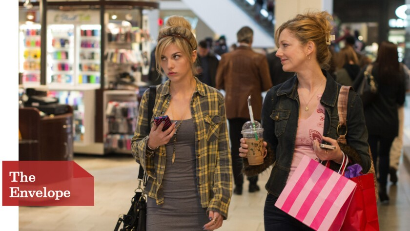 """Olivia Crocicchia, left, as Hannah Clint and Judy Greer as Donna Clint are less than sympathetic in """"Men, Women & Children."""""""