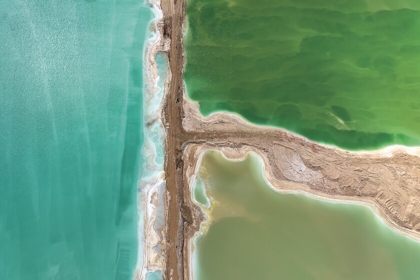 "A work called ""Watercolor"" is actually the Dead Sea in Israel, photographed from a helicopter."