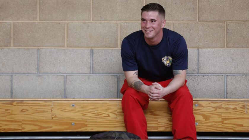 Cpl. Dakota Boyer competed in sitting volleyball and swimming at the Marine Corps Trials at Camp Pendleton this week.