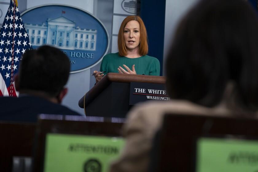 Press Secretary Jen Psaki speaks during a briefing