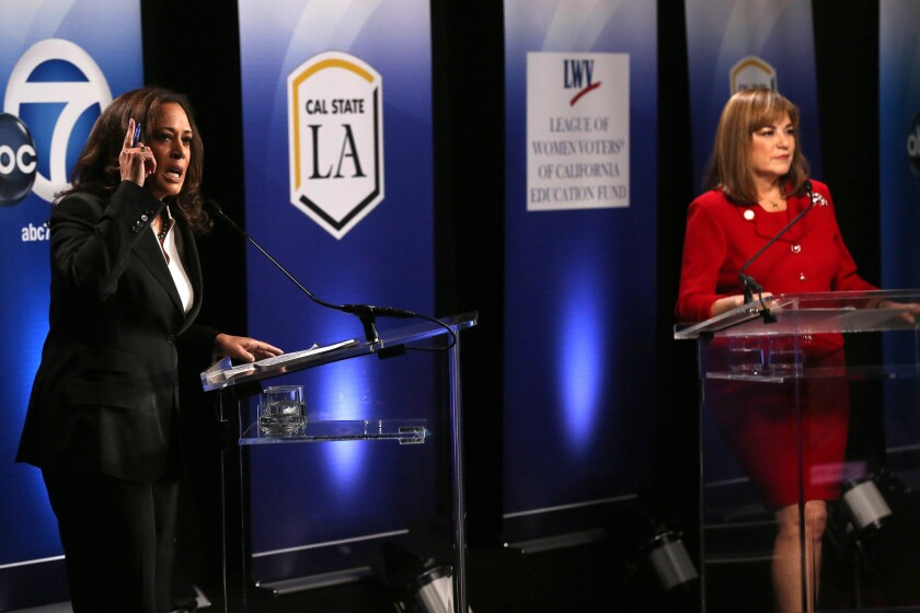 Senate candidates Kamala Harris and Loretta Sanchez appear Wednesday at Cal State L.A. in their only head-to-head debate.