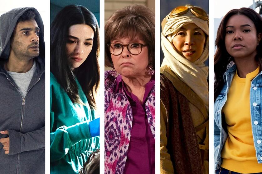 A grid of fall TV stars shows Hamza Haq, Crystal Reed, Rita Moreno, Michelle Yeoh and Gabrielle Union