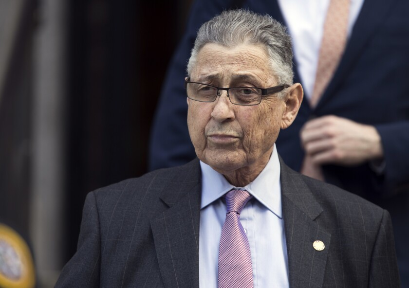 FILE - In this May 11, 2018 file photo, former New York Assembly Speaker Sheldon Silver leaves federal court in New York. Silver has been released from a federal prison on furlough, while he awaits potential placement to home confinement. That's according to a person familiar with the matter who spoke with The Associated Press on Tuesday (AP Photo/Mary Altaffer, File)
