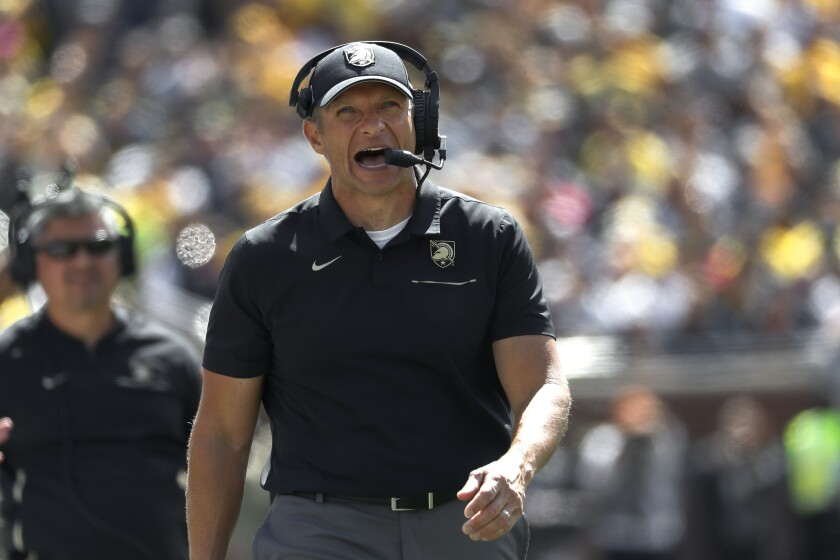 FILE - Army head coach Jeff Monken watches in the second half of an NCAA college football game against Michigan in Ann Arbor, Mich., Saturday, Sept. 7, 2019. Monken has his Black Knights back in the national rankings after an off year, but in this crazy season they suddenly have a forced bye week that actually might be a blessing in disguise. (AP Photo/Paul Sancya, File)