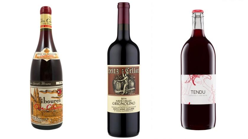 From left: Clos Cibonne Rouge Cuvée Special; 2014 Grignolino; Tendu California red wine.
