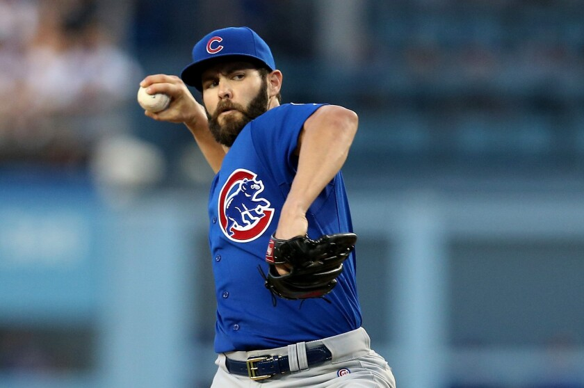Chicago right-hander Jake Arrieta throws against the Dodgers during his no-hitter at Dodger Stadium on Aug. 30.