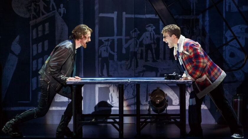 "Kaleb Wells (right) and Danny Harris Kornfeld in ""Rent."""