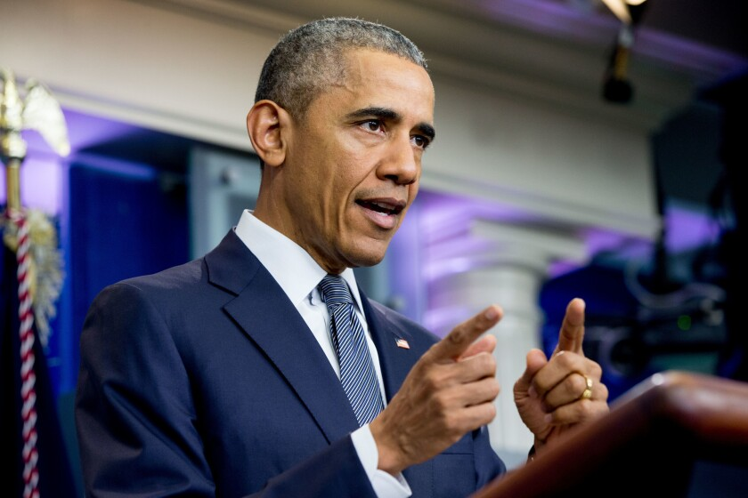President Obama speaks in the White House briefing room earlier this month.