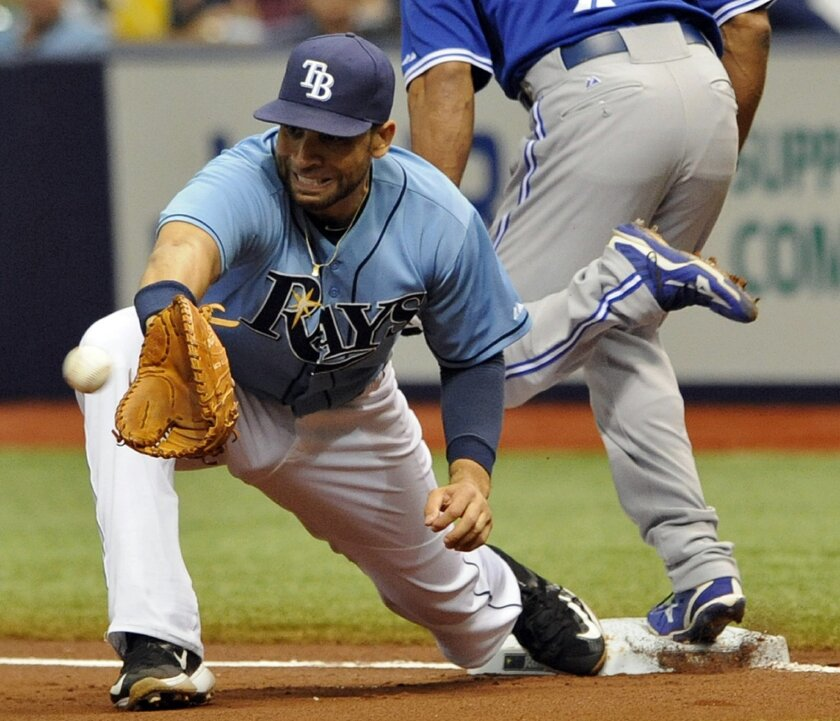 FILE - In this Oct. 4, 2015, file photo, Tampa Bay Rays first baseman James Loney reaches for the late throw as Toronto Blue Jays' Ben Revere is safe with an infield base hit during the first inning of a baseball game in St. Petersburg, Fla. The New York Mets have found help at first base following