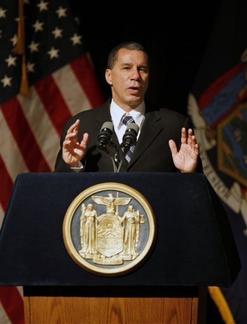FILE - In this Jan. 12, 2010 file photo, Gov. David A. Paterson delivers his State of the State speech in Buffalo, N.Y. Paterson has met privately with key Democratic leaders about his re-election plans as questions swirl around the state capitol about a variety of unproven accusations involving the Democratic governor's personal conduct. (AP Photo/David Duprey, File)