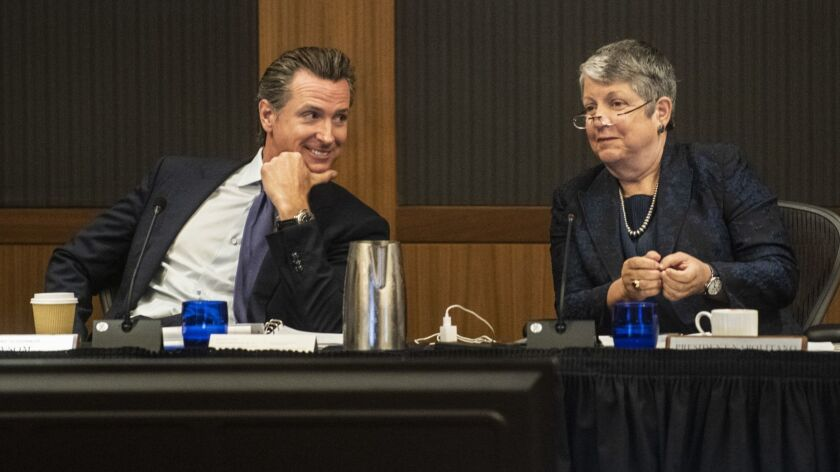 Lt. Gov. Gavin Newsom, an ex officio regent, and UC President Janet Napolitano at the UC regents meeting at UCLA's Luskin Conference Center.