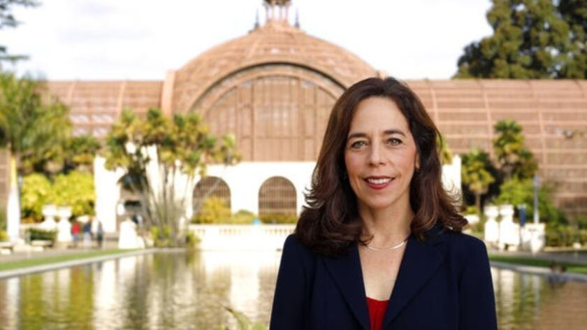 San Diego City Attorney Mara Elliott in Balboa Park.