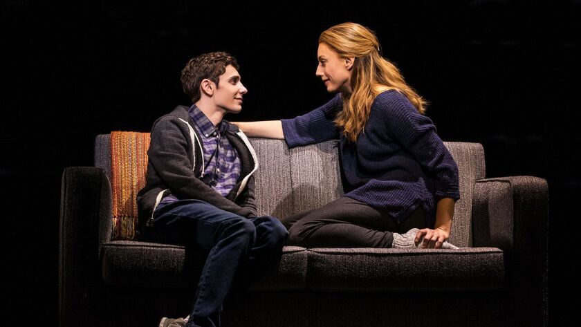 "Ben Levi Ross and Jessica Phillips costar in the national tour of the Tony-winning musical ""Dear Evan Hansen,"" now onstage at Segerstrom Center in Costa Mesa."
