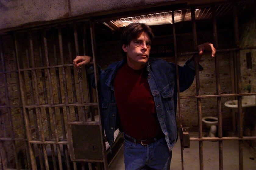 "Author Stephen King in 1998 on the set of the film ""Green Mile."" The audio version of his ""Guns"" essay was released by Audible.com this week, where it shot to the top of its bestseller list."