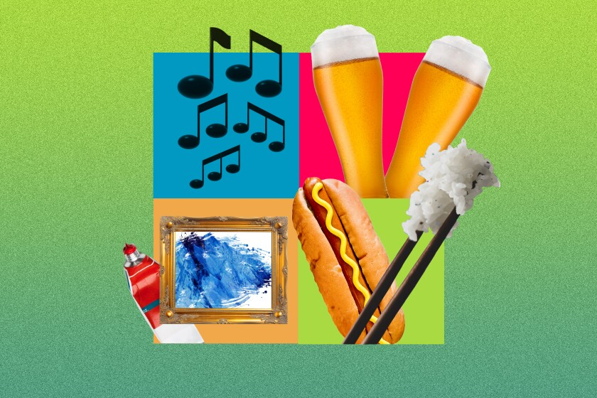 An illustration of musical notes, cold beverages, a painting with a paint tube next to it, a hot dog and chopsticks.