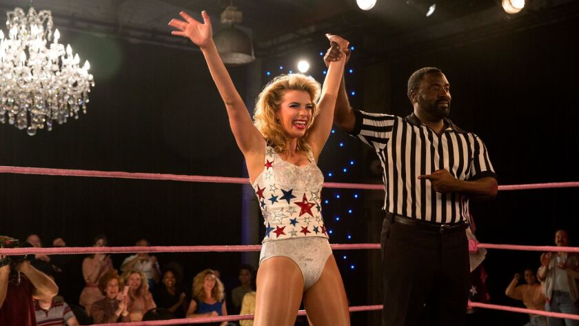 """Betty Gilpin, center, in a scene from Season 2 of the Netflix series """"GLOW."""""""