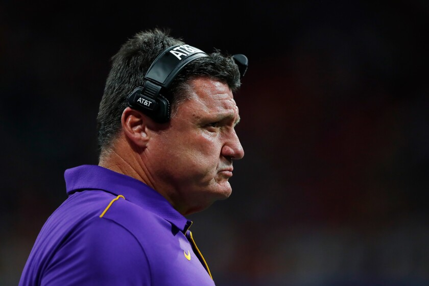 Louisiana State coach Ed Orgeron looks on from the sideline during a College Football Playoff semifinal game against Oklahoma on Dec. 28.