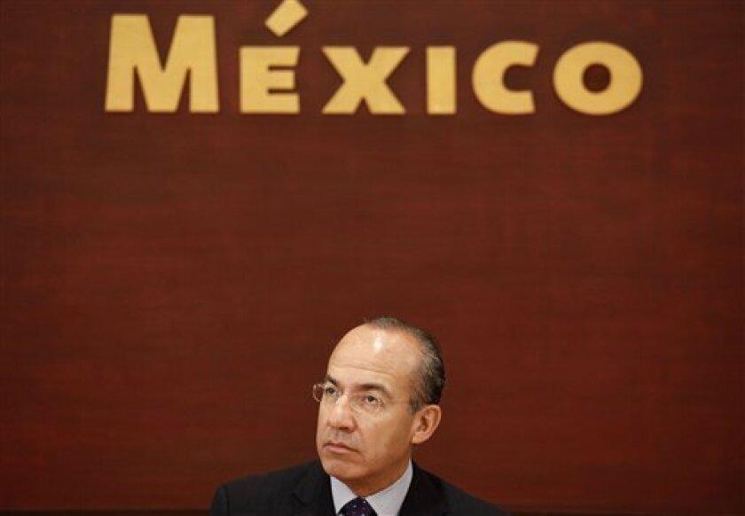 Mexico's President Felipe Calderon during a March 24, 2011 event at the Los Pinos presidential residence in Mexico City. (AP Photo/Eduardo Verdugo, File)