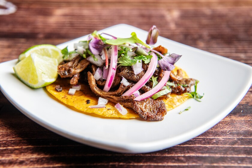 A carnitas taco from Masataco. The Whittier restaurant sells a largely vegan menu of