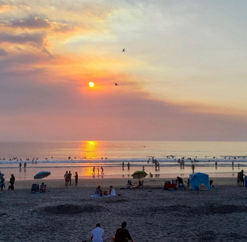 A smoky sunset is shown over Del Mar on Sept. 7, 2020.