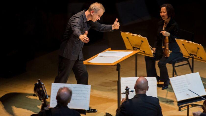 LOS ANGELES, CA - OCTOBER 17, 2017: Conductor Carlos Miguel Preto acknowledges the LA Philharmonic a
