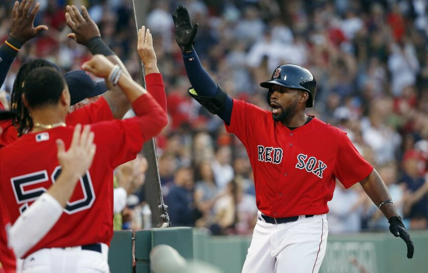 Boston Red Sox's Jackie Bradley Jr., right, celebrates his solo home run during the second inning of a baseball game against the Cleveland Indians in Boston, Friday, May 20, 2016. (AP Photo/Michael Dwyer)