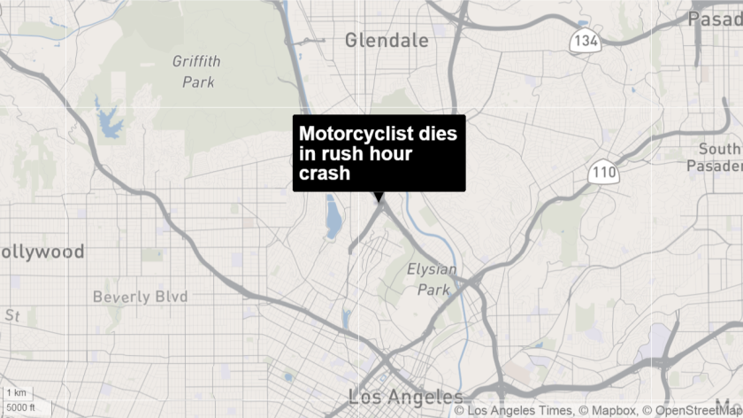 A motorcyclist died Tuesday on the transition road from the southbound 2 Freeway to the southbound 5 Freeway.