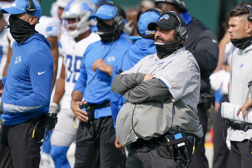 Detroit Lions head coach Matt Patricia watches during the second half of an NFL football game against the Green Bay Packers Sunday, Sept. 20, 2020, in Green Bay, Wis. (AP Photo/Morry Gash)