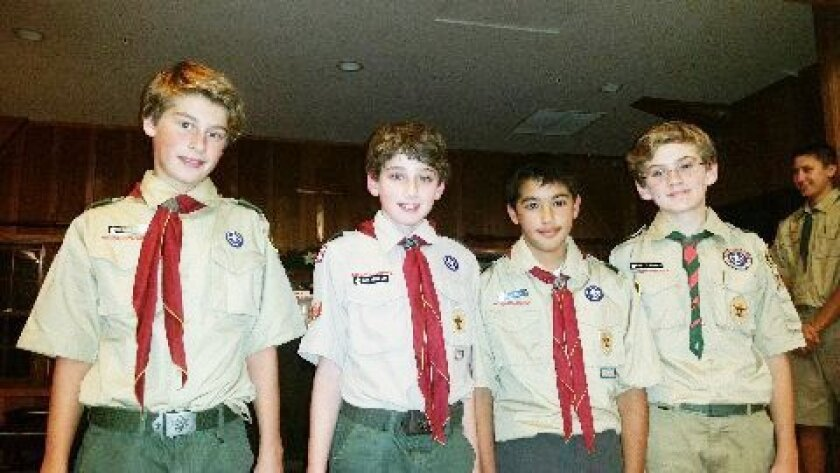 Second Class Scouts Chase Varga, Jacob Speigelman, Tyler Gonzales, Rhett Hughes. Eleven Scouts received their new rankings at the Winter Court of Honor held recently. Courtesy photos