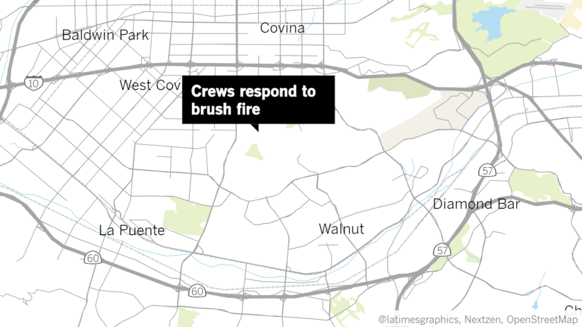 A map shows the location of a brush fire at the 1500 block of Westridge Road by Galster Wilderness Park in West Covina