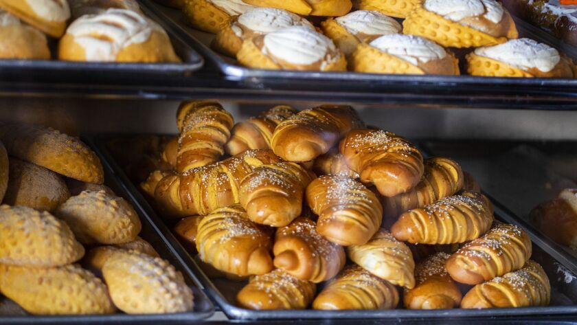 HIGHLAND PARK, CA - JUNE 8, 2019: The pasty case is full of fresh Pan Dulce at Delicias Bakery off F