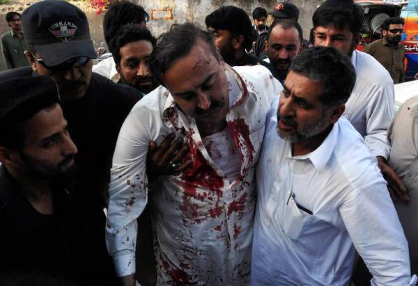 Masoom Shah, a member of Pakistan's secular, anti-Taliban Awami National Party, was injured in a bombing while campaigning in Peshawar in April.