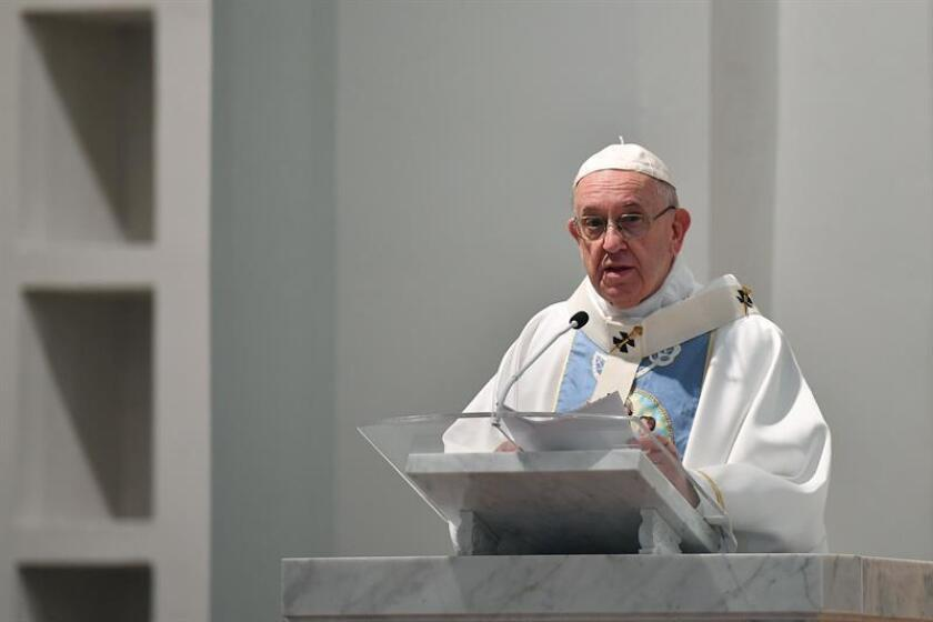 Pope Francis speaks Saturday, Jan. 26, 2019, during a sermon at Santa Maria la Antigua Cathedral in Panama City on World Youth Day, about the weariness that currently exists in religious communities and that sometimes it makes the church seen at its worst. EFE-EPA/Ettore Ferrari